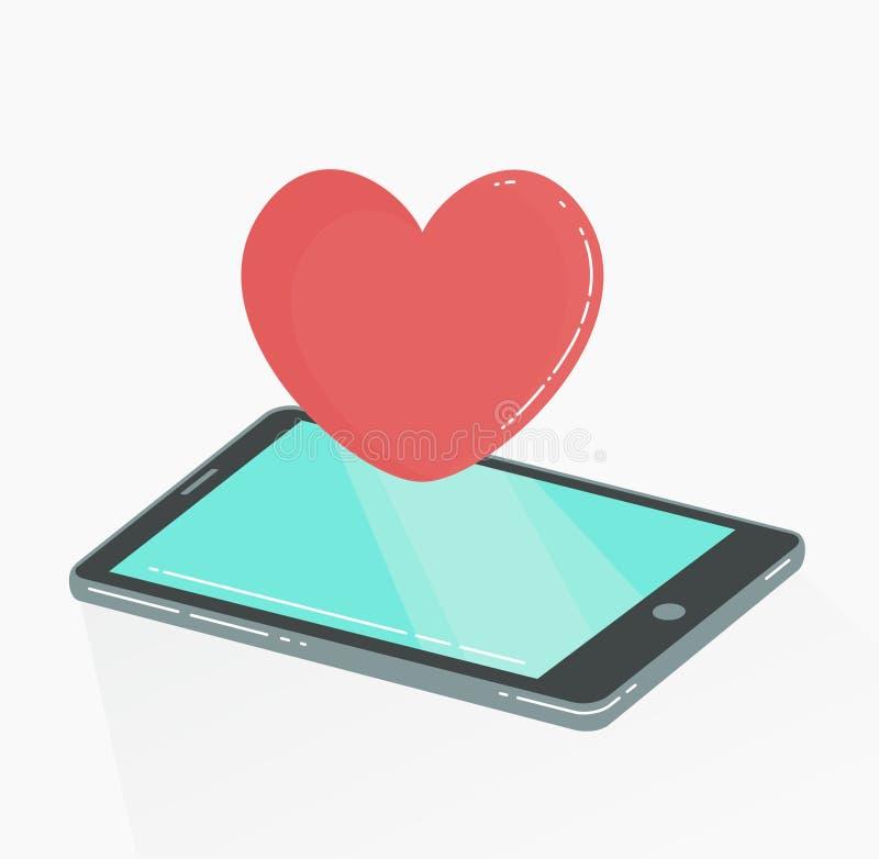 Мобильный телефон с красным сердцем любит значок иллюстрация вектора