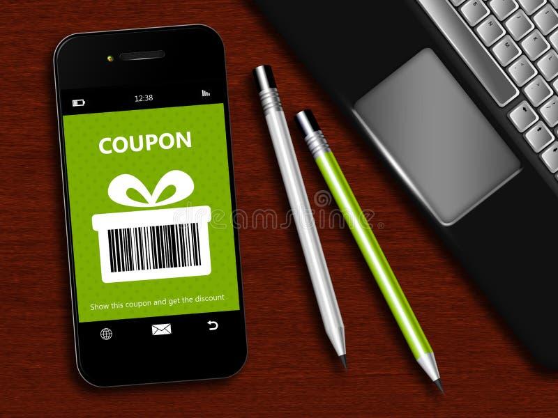 Мобильный телефон с талоном скидки весны, компьтер-книжкой и инструментом офиса иллюстрация вектора