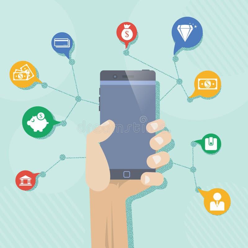 Мобильный телефон финансов иллюстрация вектора