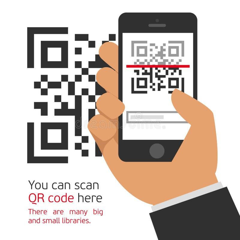 Мобильный телефон читает код QR иллюстрация вектора