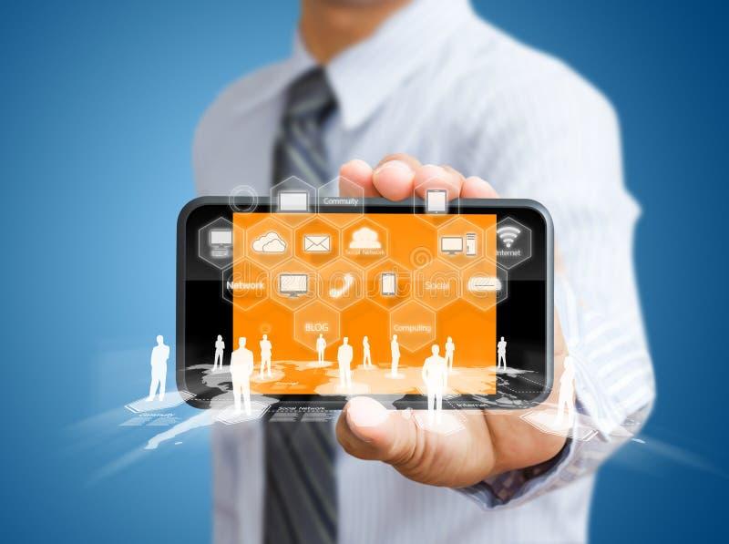 Мобильный телефон экрана касания стоковые фото