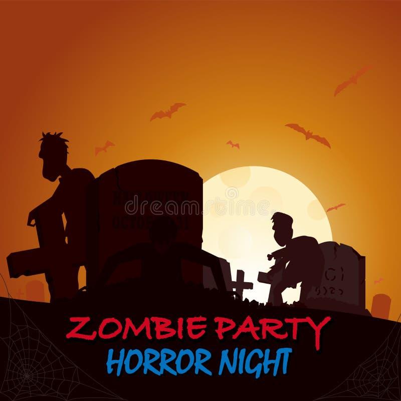 Могила, силуэт коробки летания зомби усыпальницы Покрашенный плакат в темном стиле для партии хеллоуина бесплатная иллюстрация