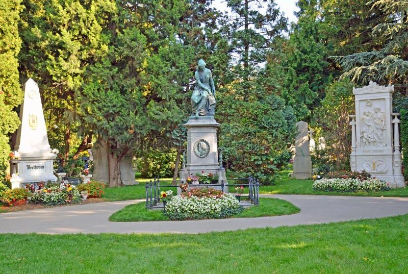 Могилы Mozart, Бетховен и Shubert стоковая фотография rf