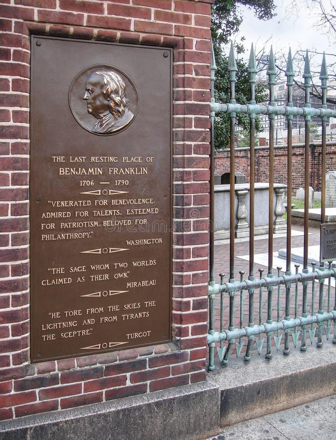 Могильник церков Христоса, Филадельфия, Бенджамин Франклин стоковое фото rf