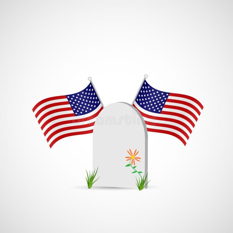 Могильный камень и флаг США иллюстрация бесплатная иллюстрация