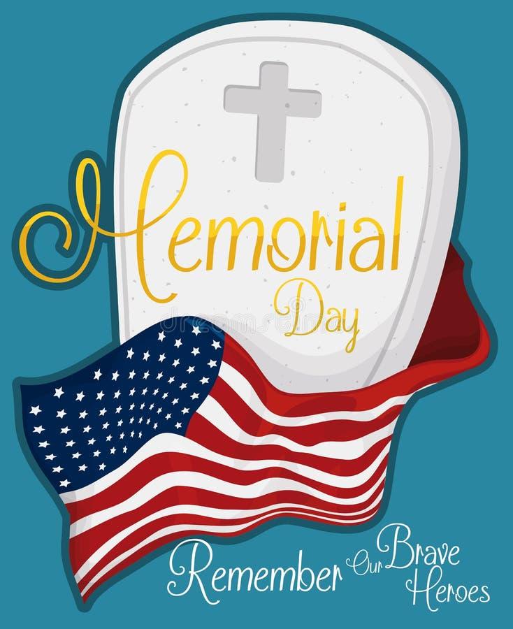 Могила Дня памяти погибших в войнах для того чтобы удостоить павших героев, иллюстрации вектора иллюстрация вектора