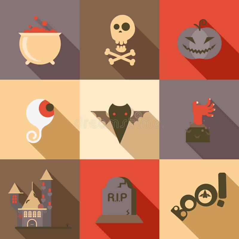 Могила руки зомби летучей мыши глаза черепа отравы плоского значка хеллоуина установленная иллюстрация штока