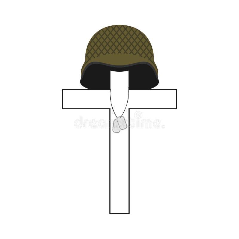 Могила солдата Перекрестный и воинский шлем Значок солдата Patr иллюстрация штока