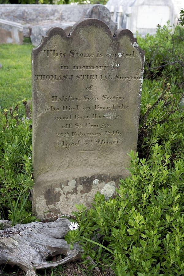 Могильный камень - Англиканская церковь St Peter, St. George, Бермудские Острова стоковое изображение