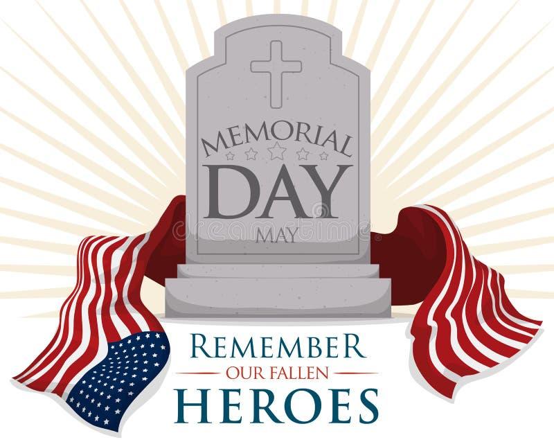 Могильный камень с флагом США на День памяти погибших в войнах, иллюстрация вектора иллюстрация вектора