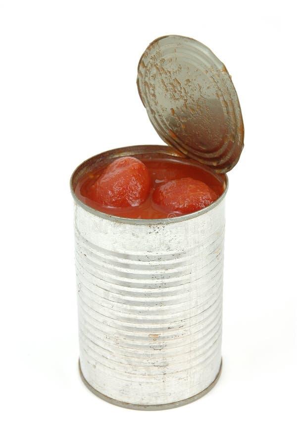 могут, котор слезли томаты стоковое изображение rf