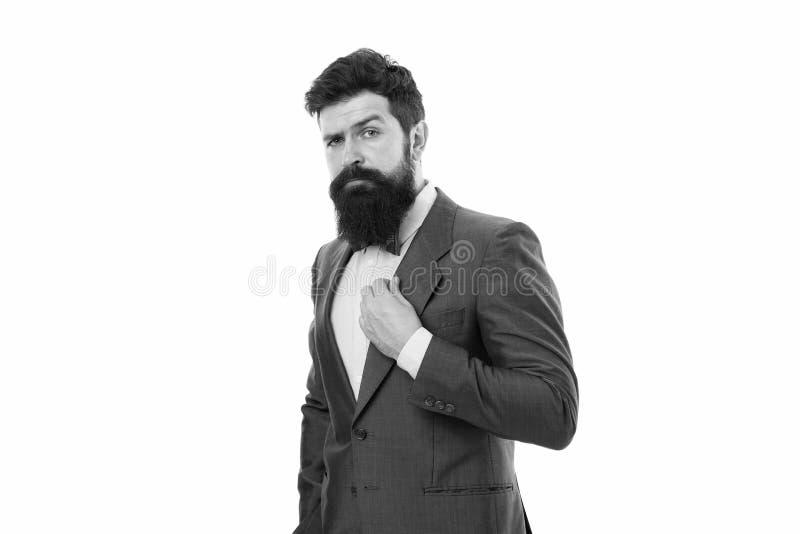 Мода и забота бороды Мужская мода в офисе Бизнесмен в официальном костюме Человек с бородой E Зрелый стоковые изображения