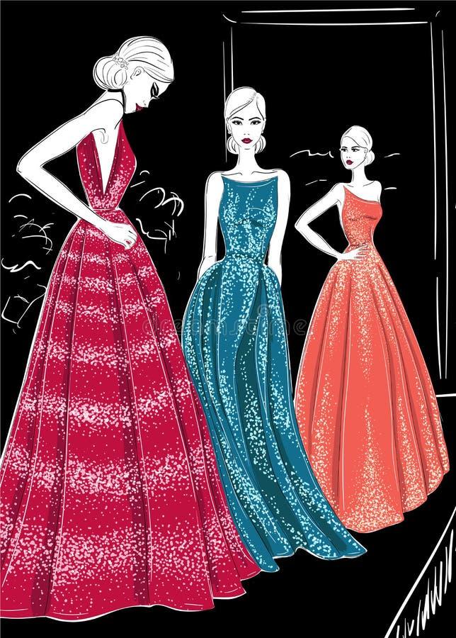 3 модели в ателье мод одевают catwolk иллюстрация штока