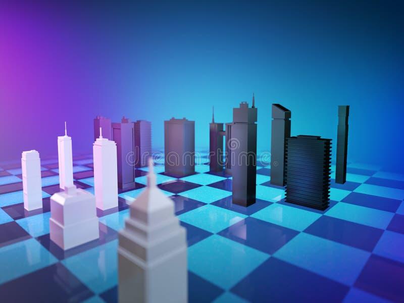 Модели зданий и домов в шахматной игре стоковая фотография rf