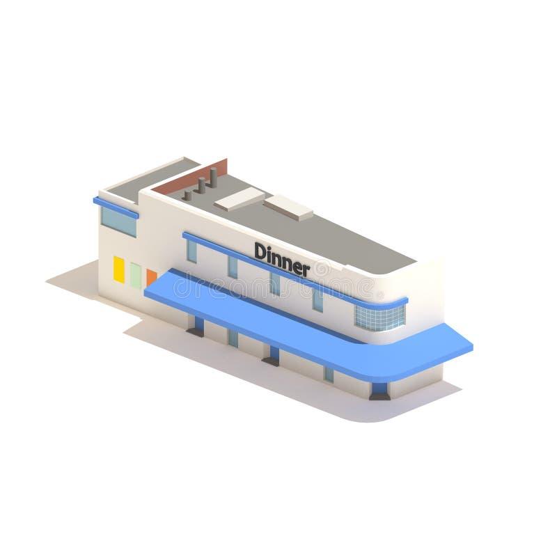 модельный равновеликий обедающий ресторана 3d изолированный на белой предпосылке иллюстрация штока
