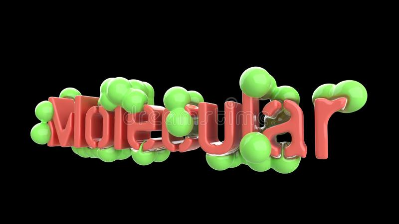 Модель абстрактной молекулярной структуры с литерностью слова в ультрамодном пинке и зеленом цвете Изолировано на черной предпосы иллюстрация вектора
