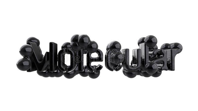 Модель абстрактной молекулярной структуры с литерностью слова в черных лоснистых металле или пластмассе Изолировано на черной пре бесплатная иллюстрация