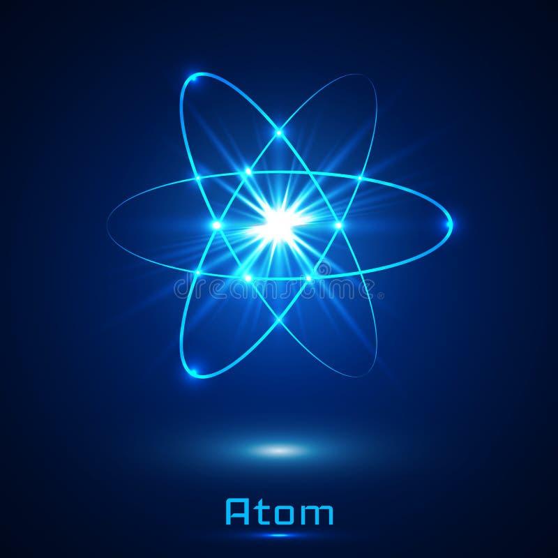 Модель атома неоновых свет вектора светя иллюстрация штока