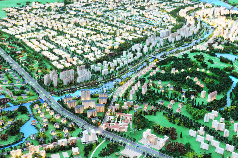 модель городского пейзажа стоковое фото rf