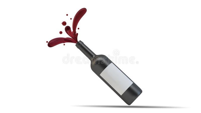 модель-макет бутылки выплеска вина иллюстрация вектора