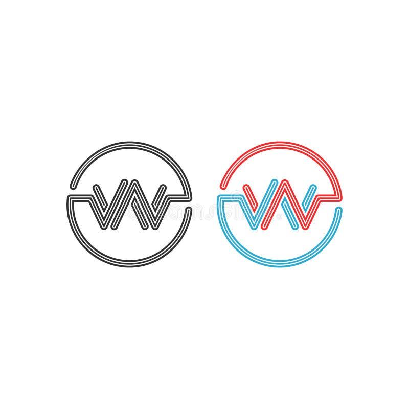 Модель-макет вензеля w логотипа, элемент дизайна рамки кругов писем WW пересечения, абстрактная граница круга формы волны ИМПа ул иллюстрация штока