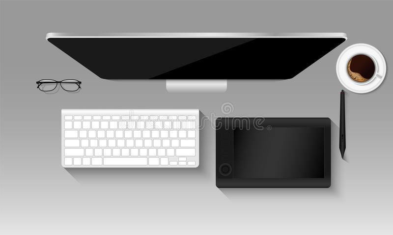Модель-макет взгляд сверху рабочего места график-дизайнера, таблетки, клавиатура, иллюстрация вектора