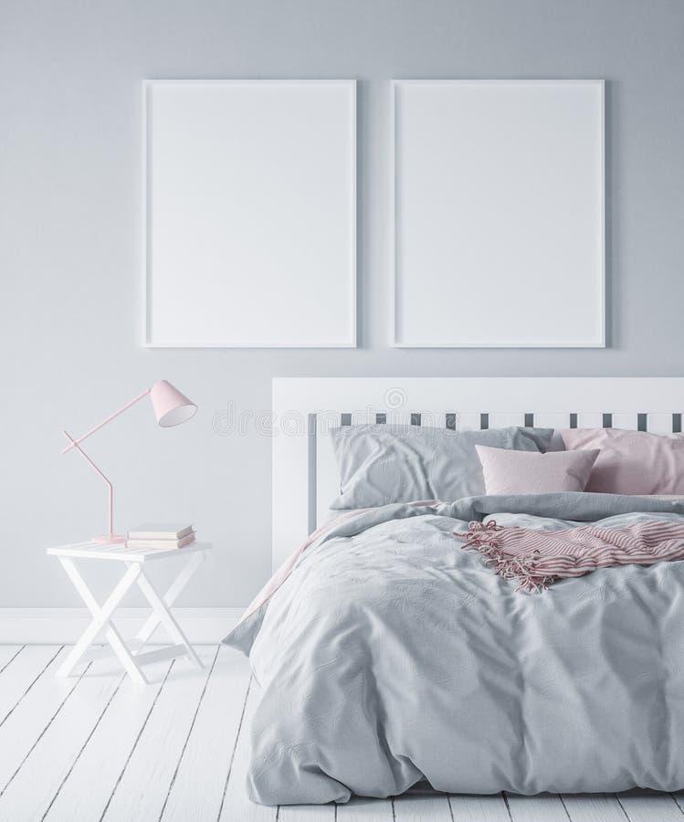 Модель-макет в современной спальне, скандинавском стиле иллюстрация вектора