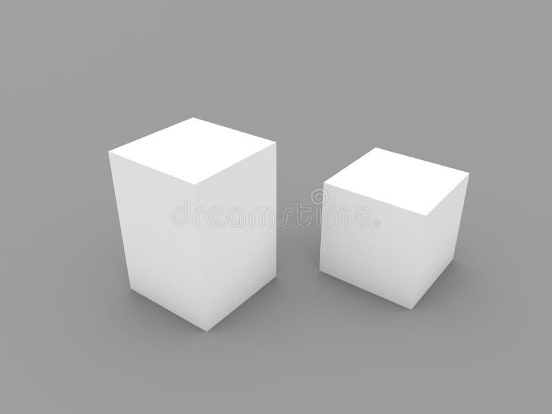 Модель-макет 2 закрытых коробок на белой предпосылке иллюстрация штока