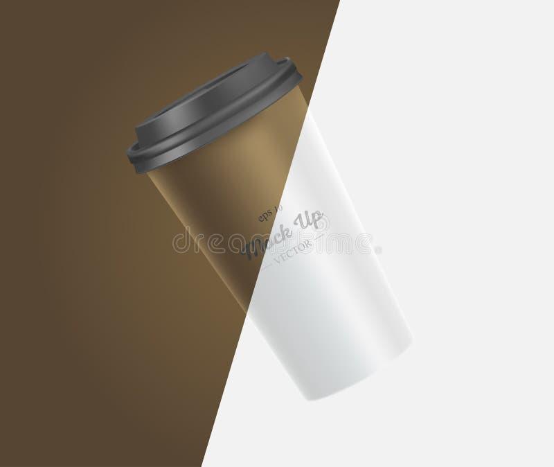 Модель-макет кофейной чашки на коричневой и белой предпосылке бесплатная иллюстрация
