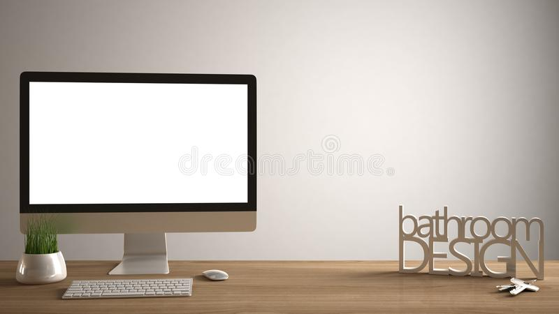 Модель-макет настольного компьютера, шаблон, компьютер на деревянном столе работы с пустым экраном, ключами дома, письма 3D делая стоковые изображения