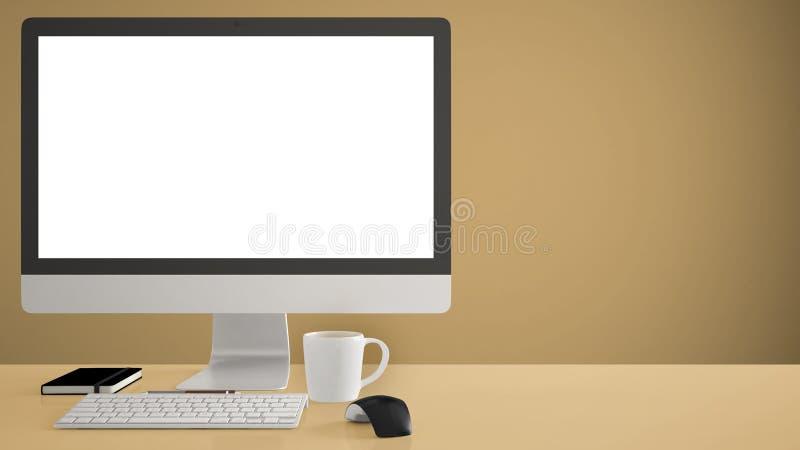 Модель-макет настольного компьютера, шаблон, компьютер на желтом столе работы с пустым экраном, мышь клавиатуры и блокнот с ручка стоковое фото