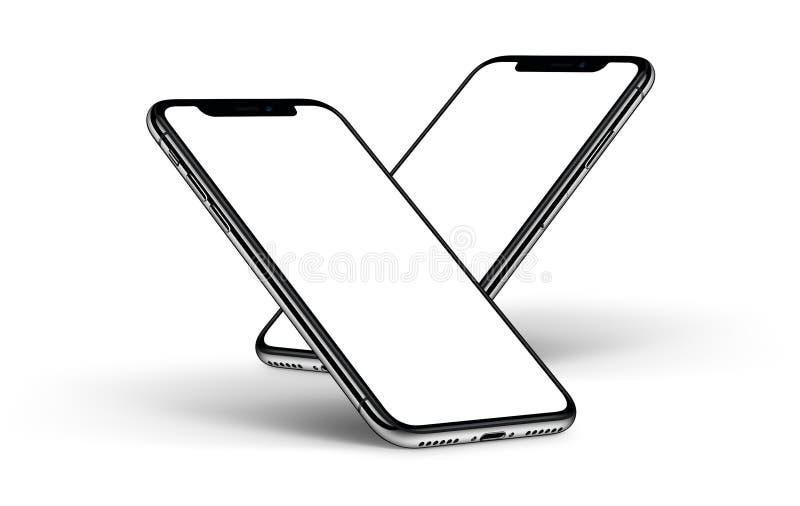 Модель-макет одно Smartphones за другой лицевой стороной с белым экраном иллюстрация штока