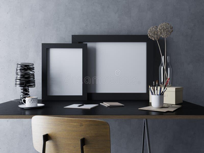 модель-макет представляет пустого белого шаблона плаката 2 в черной рамке в уютном интерьере рабочего места домашнего офиса в сто иллюстрация штока