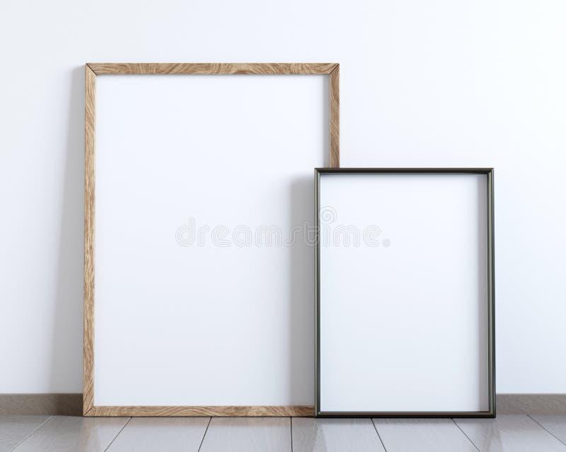 Модель-макет 2 пустых плакатов рамки на поле бесплатная иллюстрация
