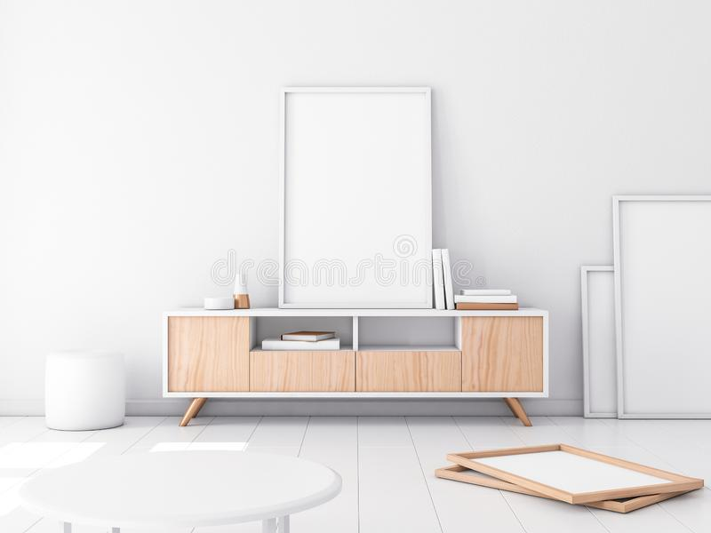 Модель-макет рамки плаката на конторе, современном белом интерьере бесплатная иллюстрация