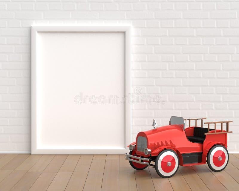 Модель-макет рамки с пожарной машиной игрушки младенца винтажной на белой предпосылке иллюстрация штока