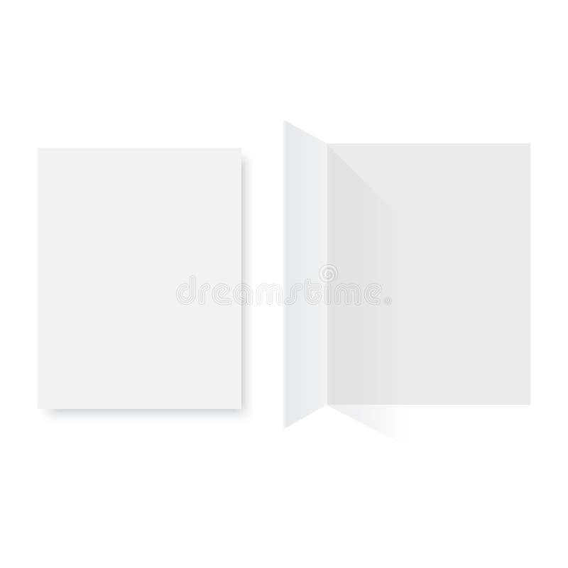 Модель-макет раскрыл кассету, журнал, буклет, открытку, рогульку, визитную карточку или брошюру также вектор иллюстрации притяжки иллюстрация вектора