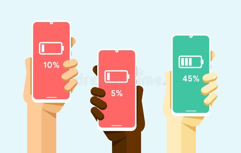 Модель-макет смартфона в человеческой руке Низкая и высокая сила батареи Поручать Иллюстрация технологии вектора плоская красочна иллюстрация вектора