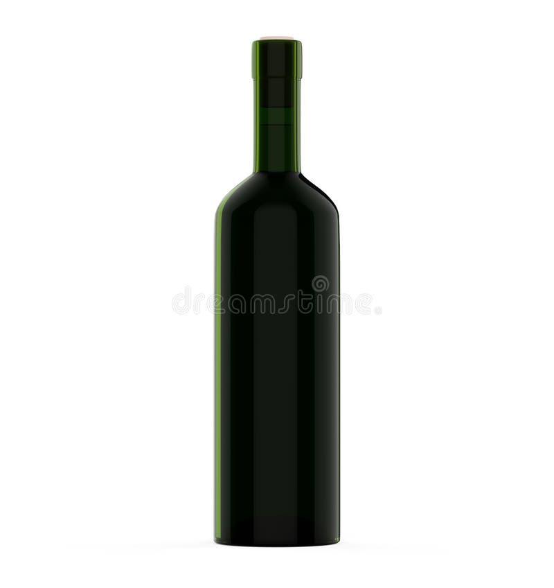 Модель-макет стекла бутылочного зеленого Bordo вина изолировал иллюстрация вектора