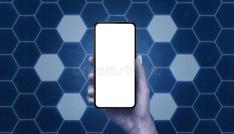 Модель-макет телефона окруженный с сетью формы шестиугольника со свободными клетками стоковые изображения