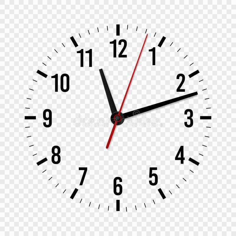 Модель-макет часов Час, минута и вторые руки с масштабом времени для современных дозоров офиса стены изолированный вектор 3d бесплатная иллюстрация