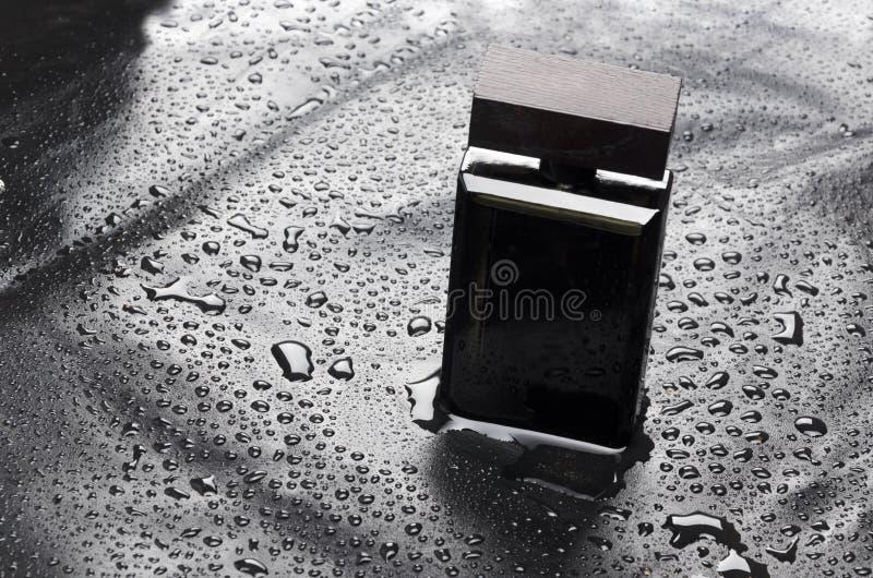 Модель-макет элегантной бутылки духов на воде падает предпосылка Концепция тонов moonlignt стоковое фото rf