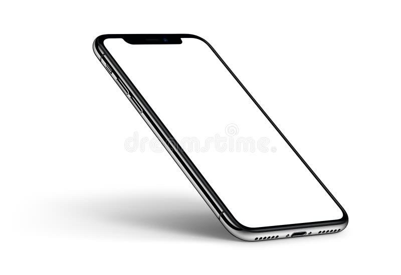 Модель-макет iPhone x smartphone перспективы с CCW тени вращал на белой предпосылке бесплатная иллюстрация