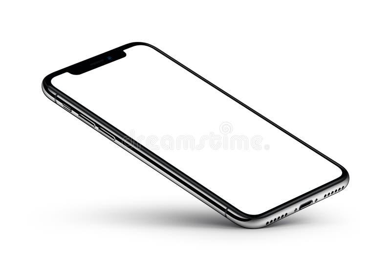 Модель-макет smartphone взгляда перспективы с пустым экраном отдыхает на одном угле бесплатная иллюстрация
