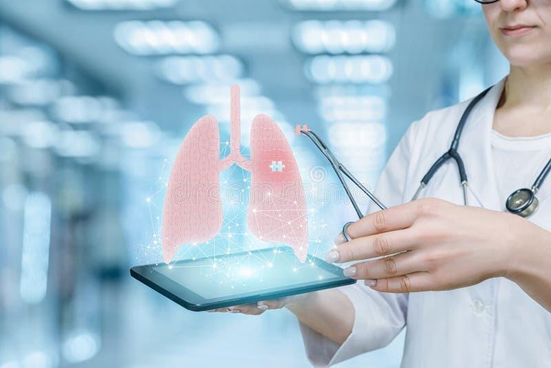 Модель обработки болезней легких новаторская работая доктором стоковые фото