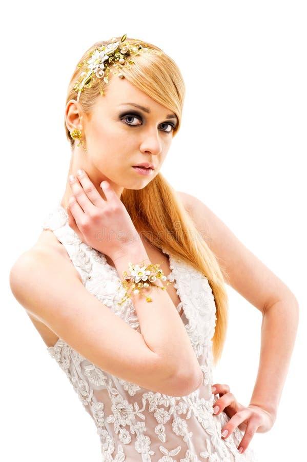 модель очарования способа платья невест красотки стоковые изображения rf