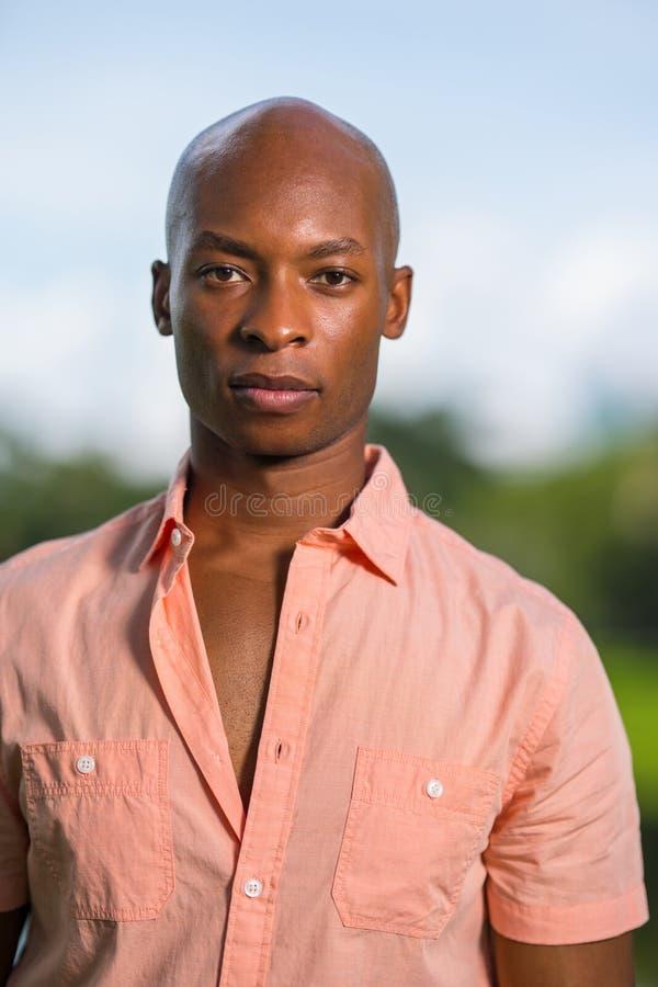 Модель портрета красивая молодая Афро-американская мужская смотря камеру Лысый человек нося розовую рубашку кнопки на расплывчато стоковое фото rf