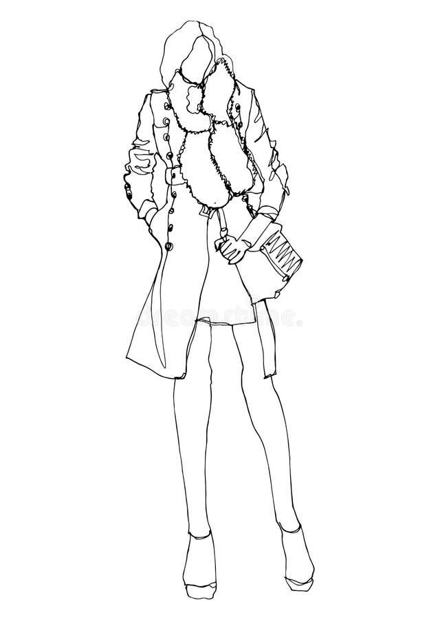Модель силуэта моды в стиле искусства отдельной линии иллюстрация вектора