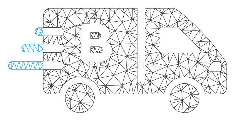 Модель туши сетки вектора автомобиля Bitcoin срочная иллюстрация штока