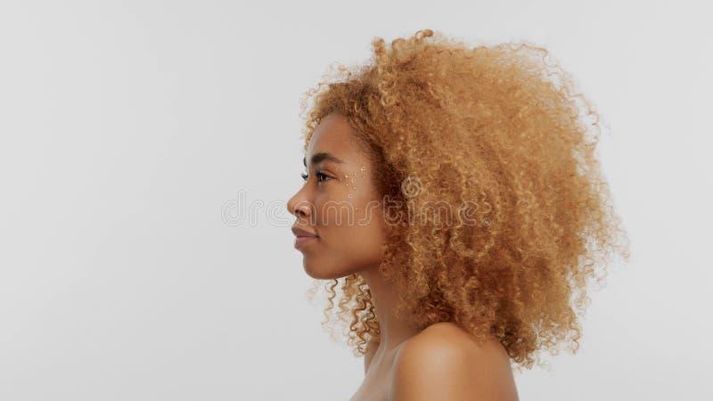 Модель черноты смешанной гонки белокурая с вьющиеся волосы стоковое фото